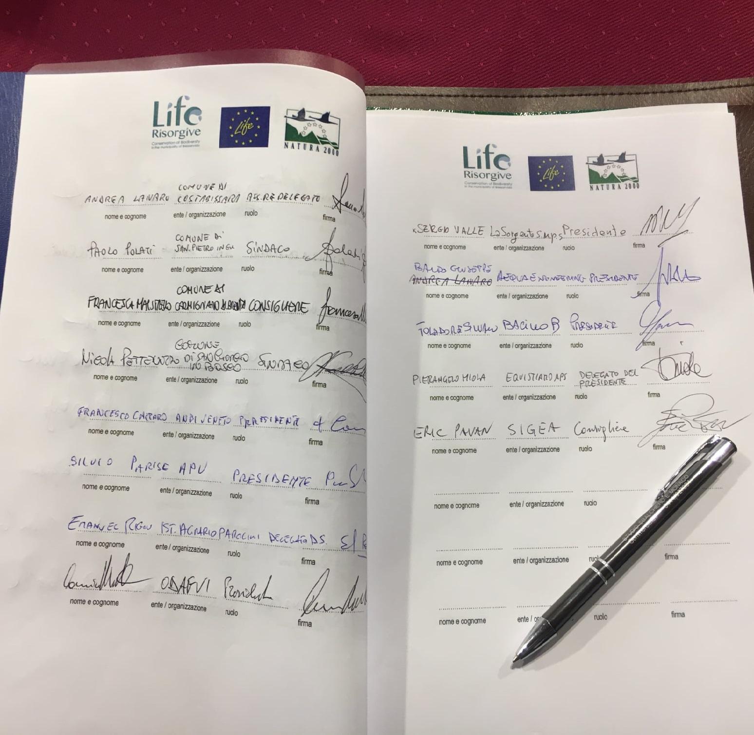 Firma del Contratto di Risorgiva - Life Risorgive